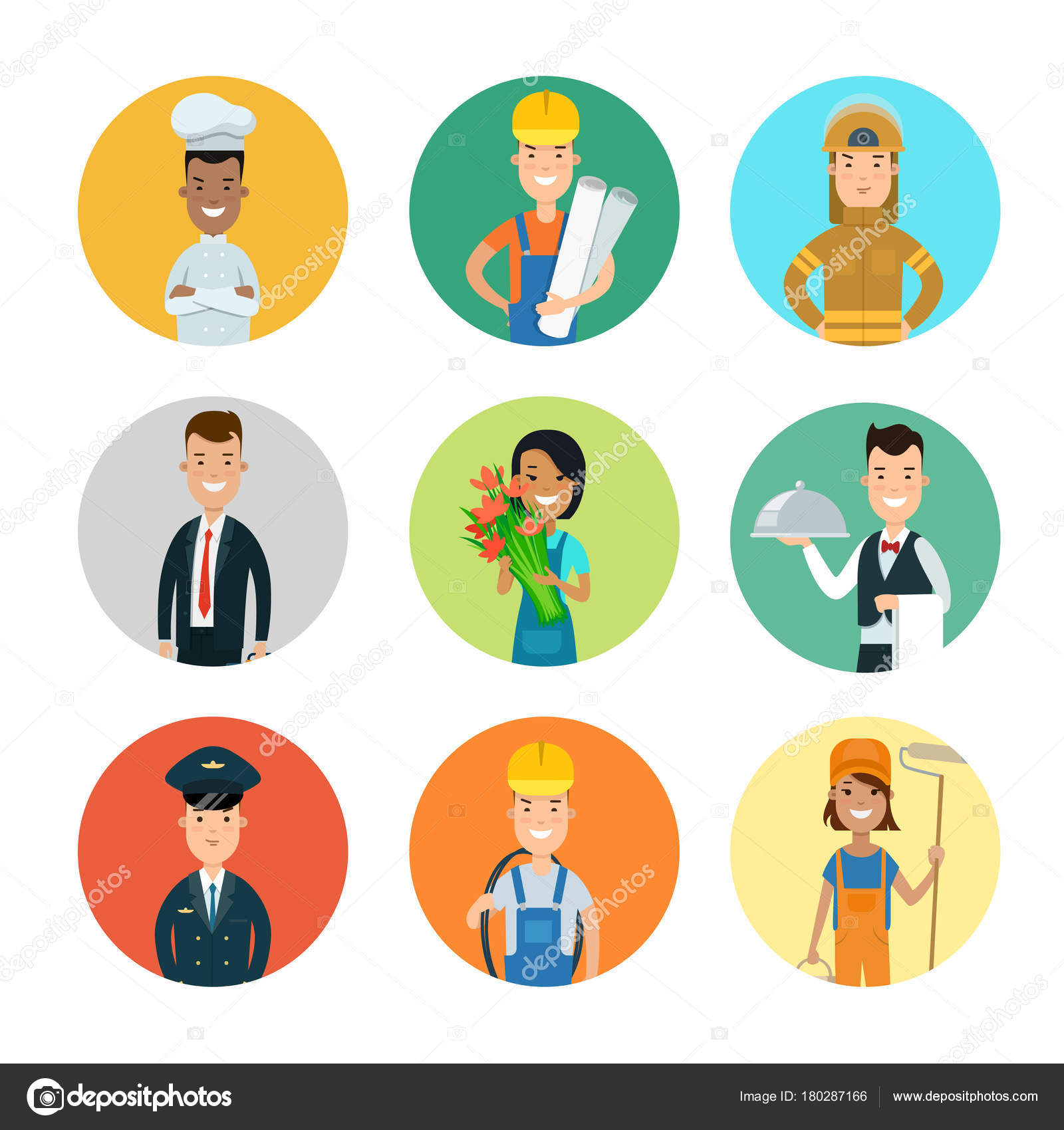 flat style professions avatars stock vector sentavio 180287166