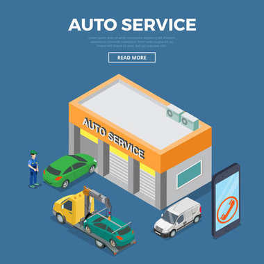 Flat 3d isometric auto car repair service