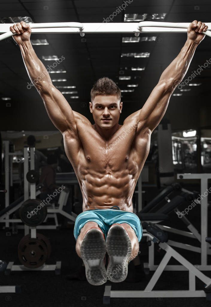 Muscular Man Working Out In Gym Male Naked Torso Abs Stock