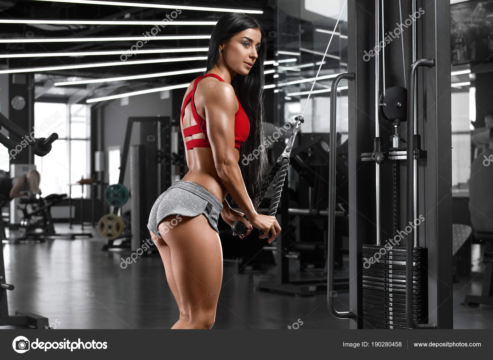 Sexy Athletic Girl Workout Gym Fitness Woman Exercising Sexy