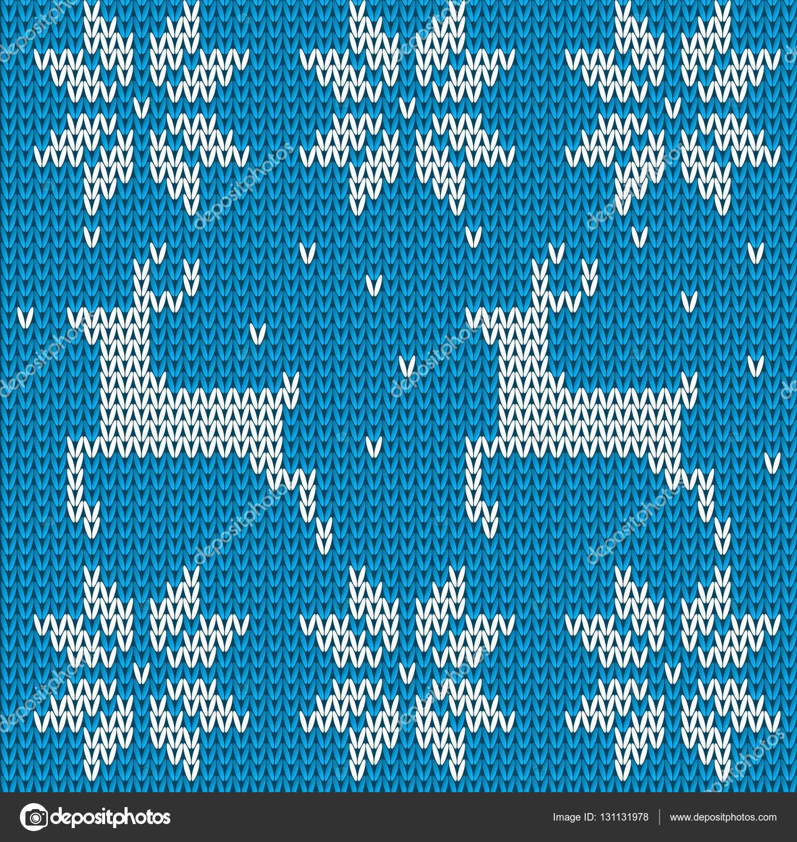 Suéter de ciervos punto azul con estilo noruego. Punto ornamento ...