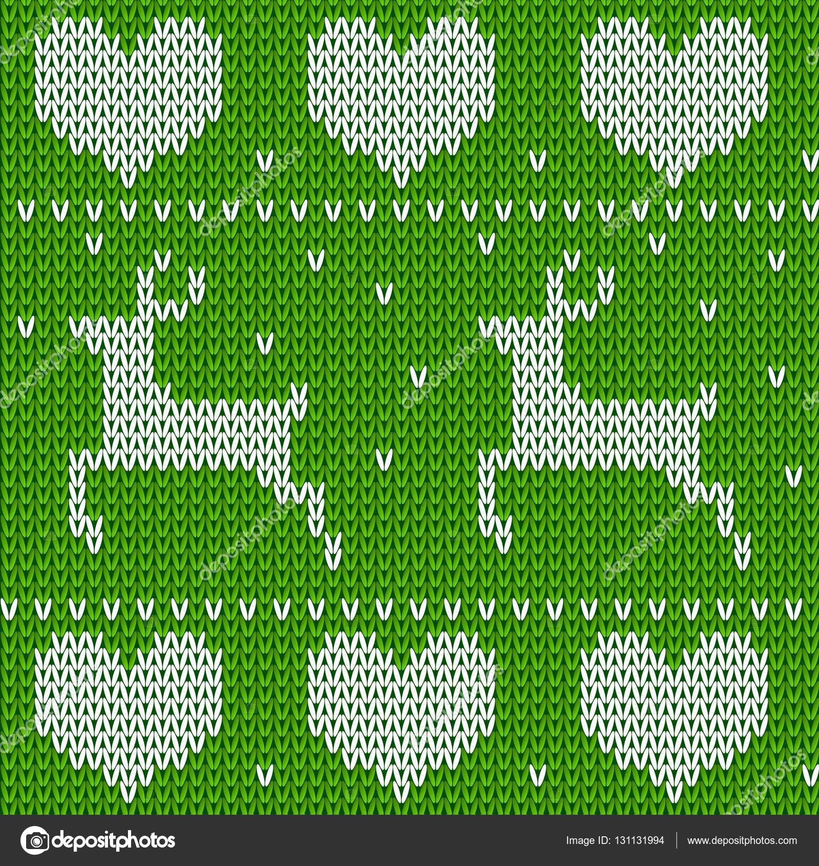 Verde de punto jersey de ciervos con estilo noruego. Punto ornamento ...