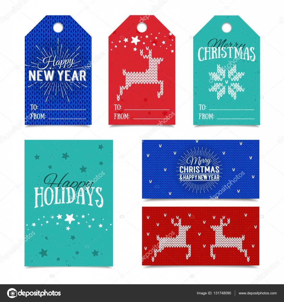 collection of knitted norwegian christmas card templates colorful new year present tags made in vector name cards for presents with happy holidays