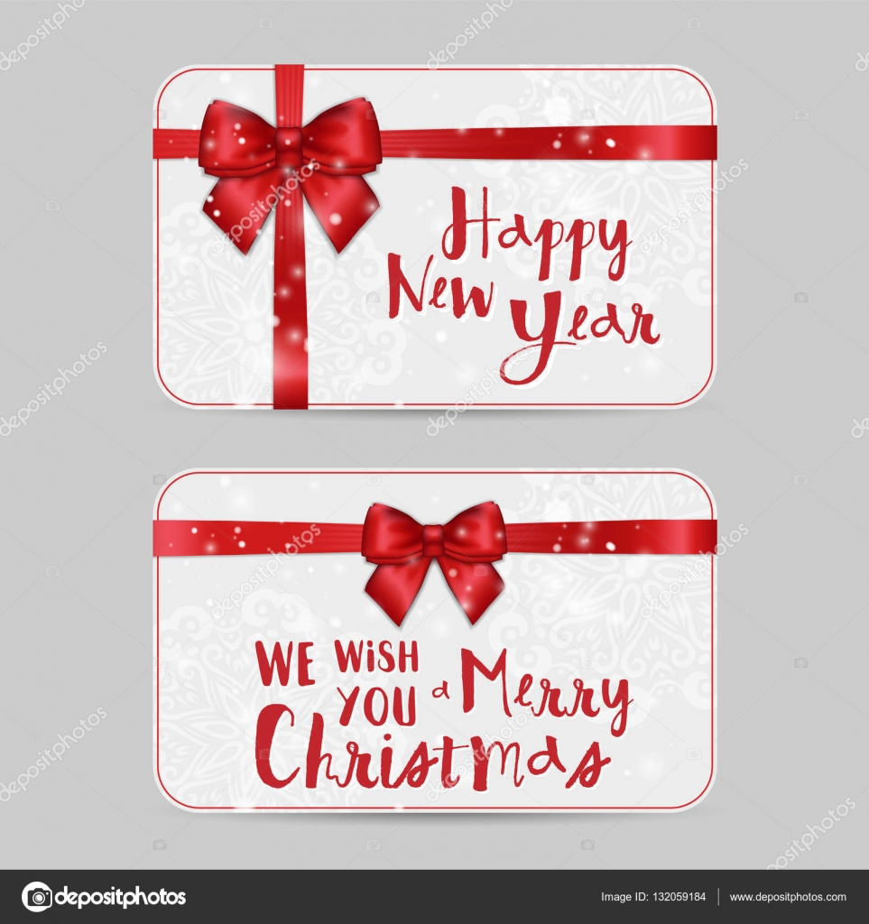 Christmas Ornamental Cards With Shiny Holiday Red Satin Ribbon New