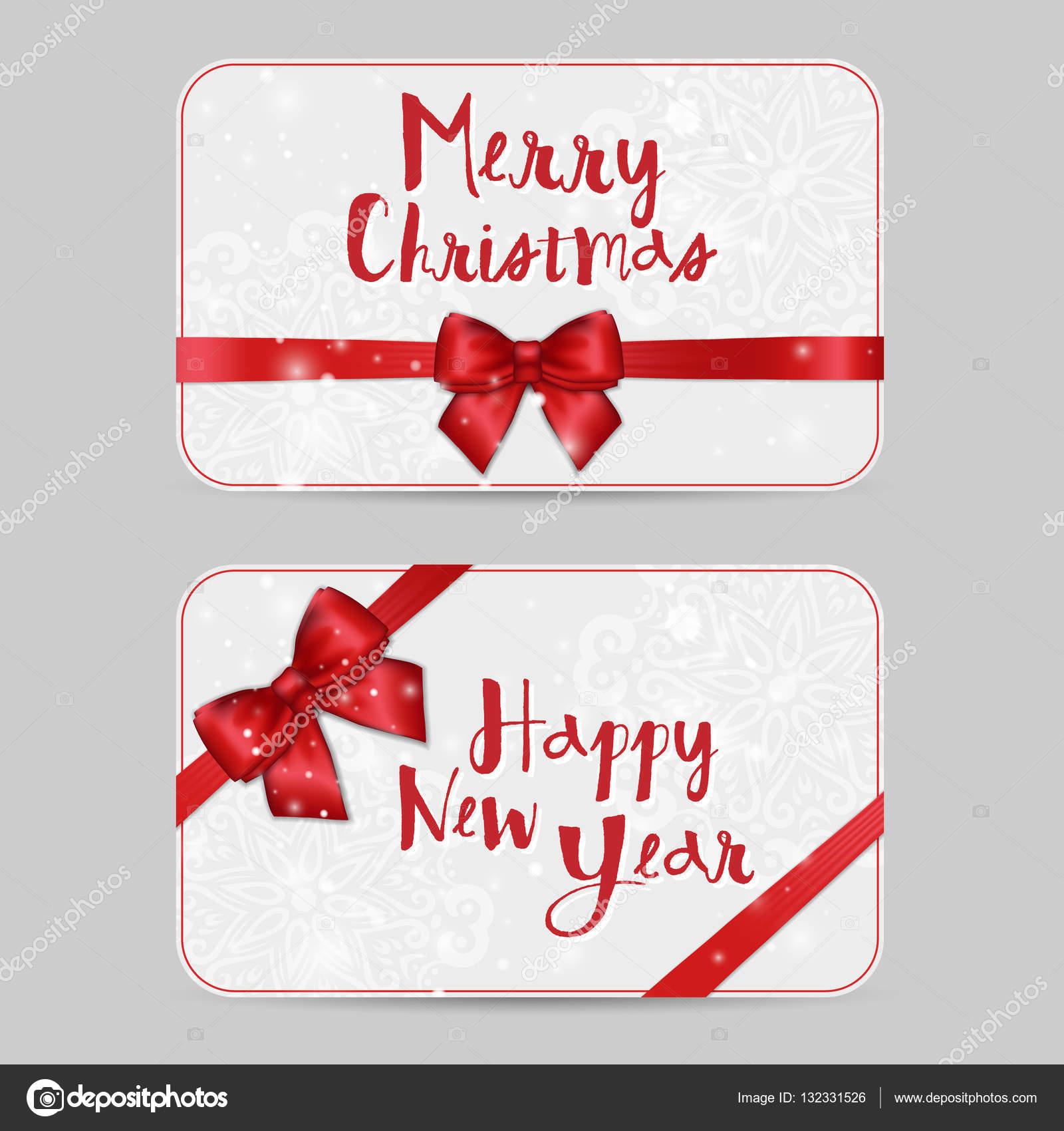 Weihnachten ornamentalen Kartenvorlagen mit Satinband rot glänzenden ...