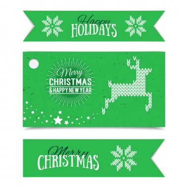 Illustration of colorful paper cards and ribbons with Happy Holidays and Merry Christmas lettering. Vector banners. Present tags