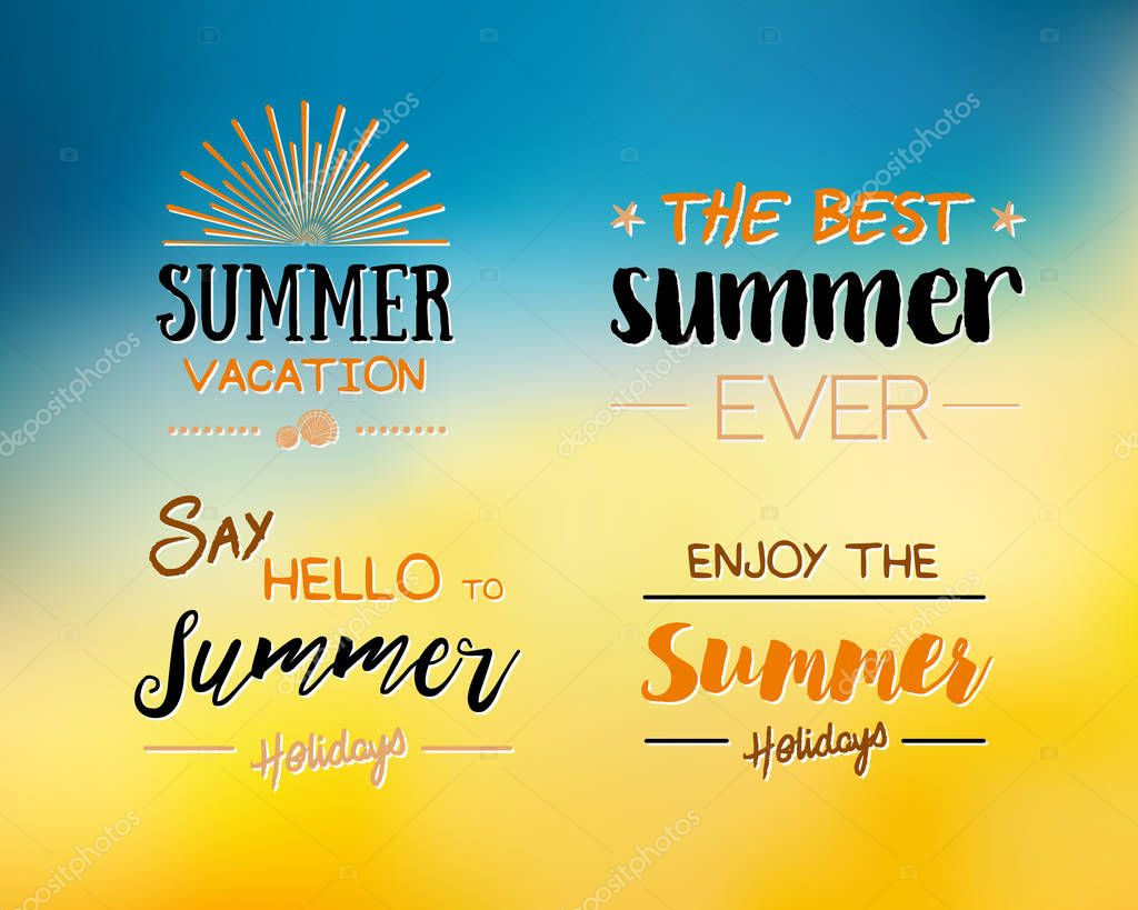 Enjoy The Summer Time logo Template. Vector Typographic Design Label. Holidays lettering.  Tropical party paradise, sea, sunshine