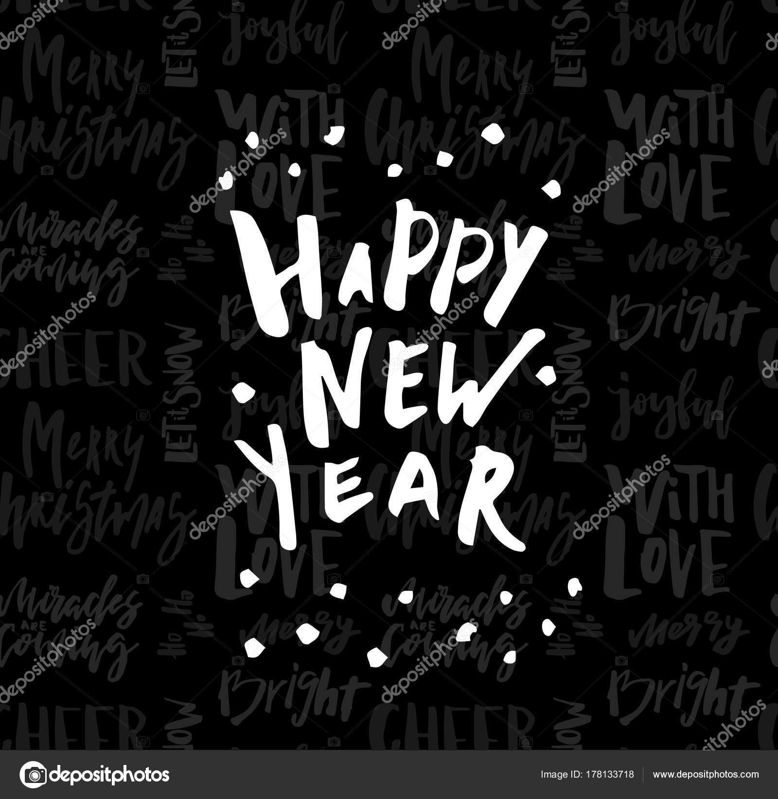 Glückwunschkarte mit Kalligrafie frohes neues Jahr. Vorlage für ...