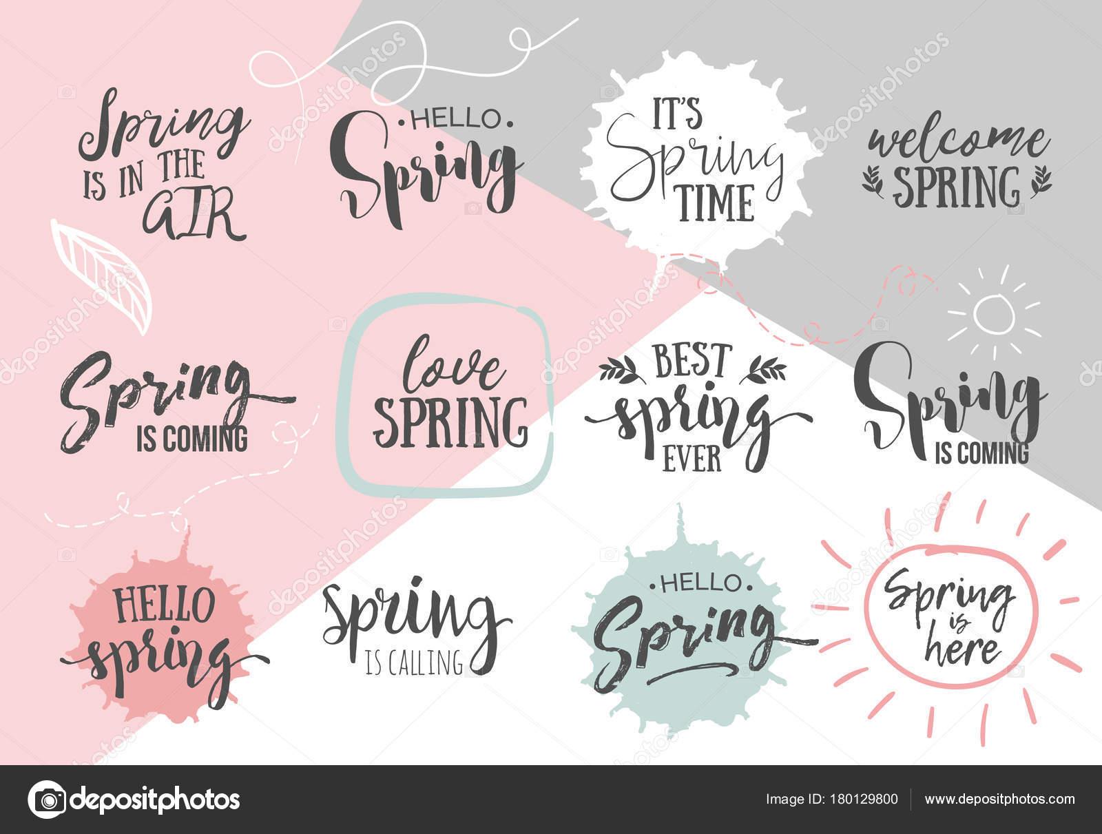 Set Inspirational Spring Romantic Handwritten Quotes Good Greetings