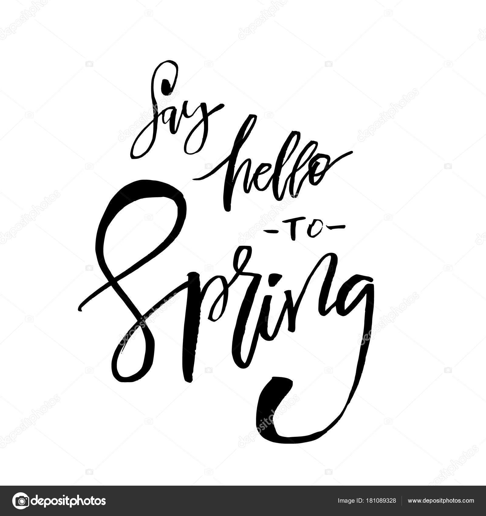 Sag Hallo Zu Frühling Hand Angebot Inspirieren Lassen Vektor
