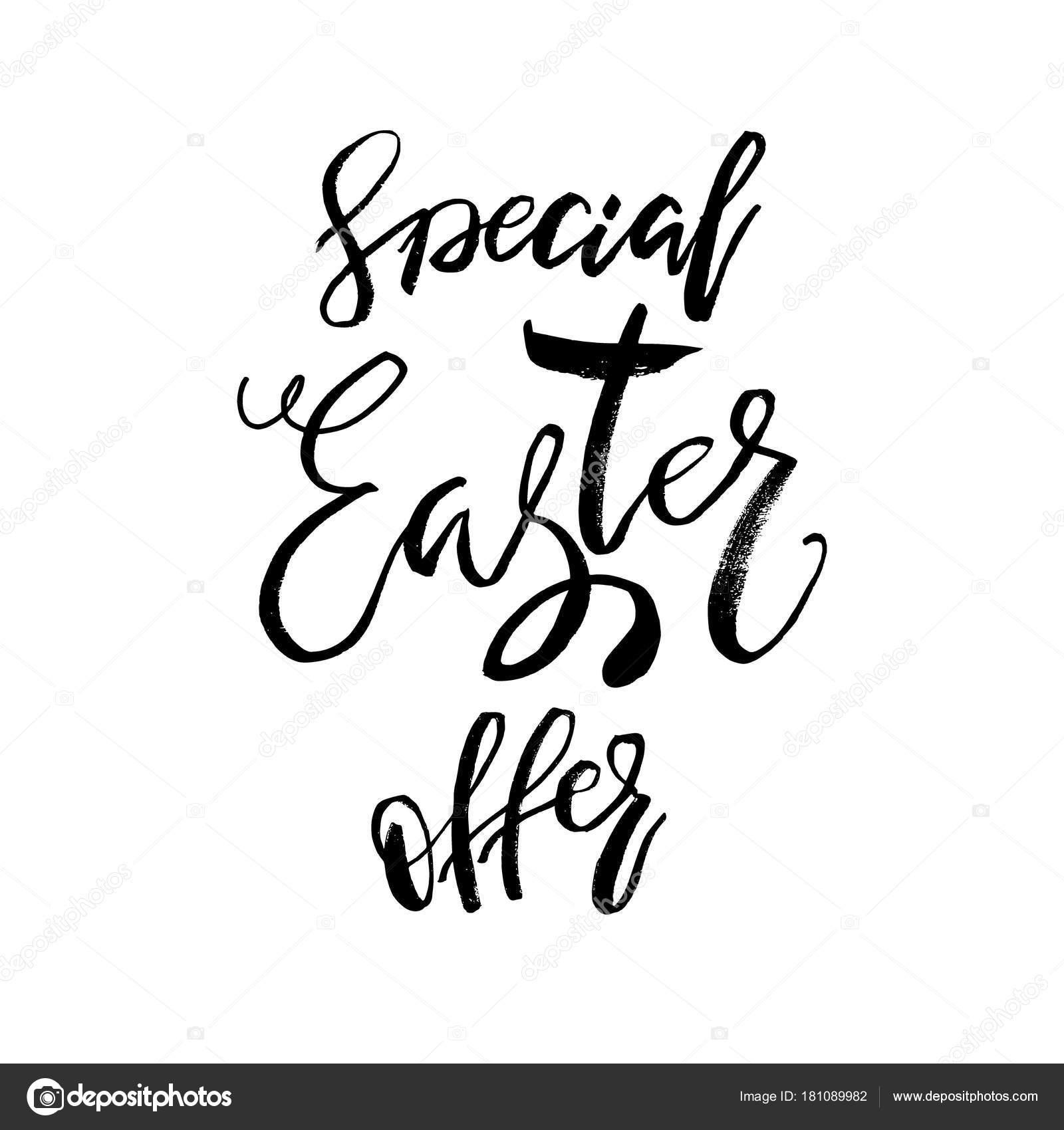 Tarjeta de Pascua oferta especial con texto de caligrafía. Plantilla ...