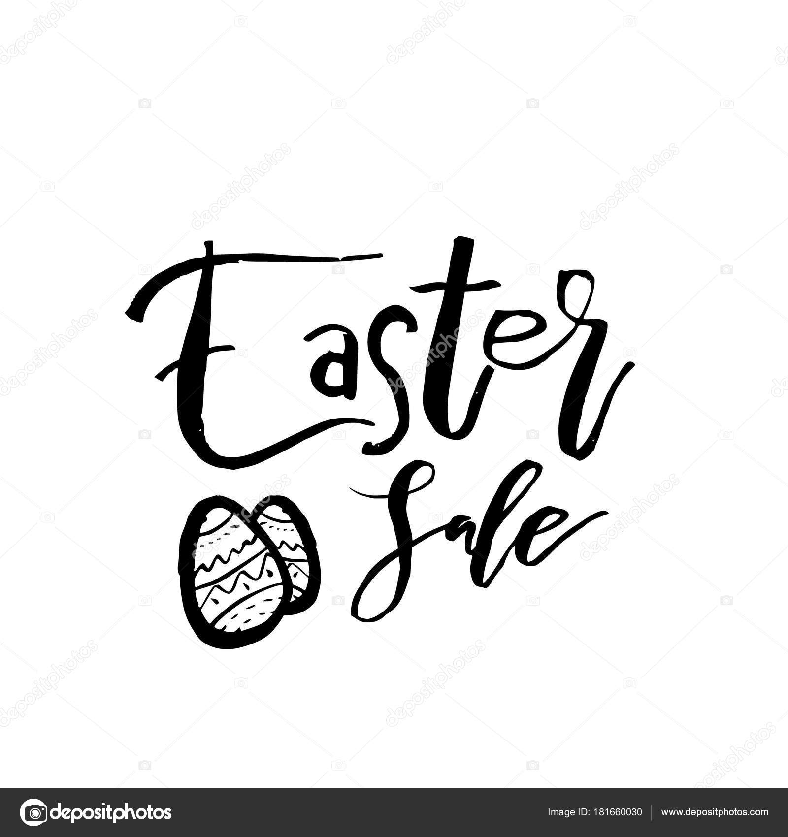 Tarjeta de Pascua feliz con texto de caligrafía. Plantilla de vector ...