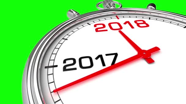 new year 2018 clock green screen clock countdown from year 2017 to 2018 perfect for your own background clean mask on green screen stock footage