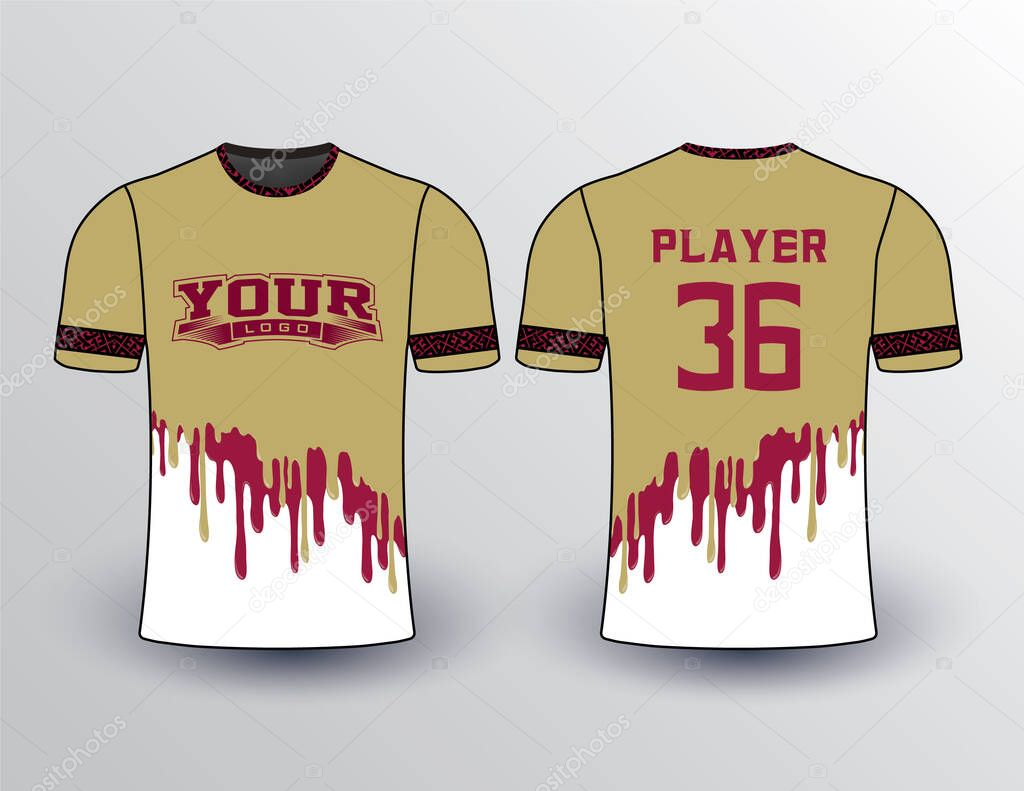 Vegas Gold Body Color With Maroon Color Paint Dripping Effect Design On White Background Shirt Premium Vector In Adobe Illustrator Ai Ai Format Encapsulated Postscript Eps Eps Format