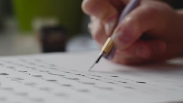 a girl fills a calligraphy notebook with beautiful symbols