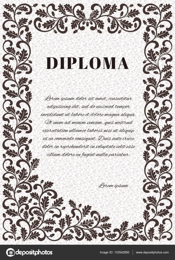 Vorlage für Diplom mit reich verzierten Rahmen. Rahmen verziert ...
