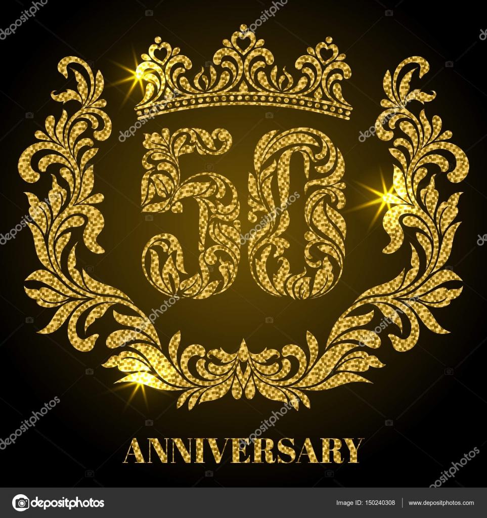 Aniversario de 50 años. Dígitos, marco y corona en remolinos y ...
