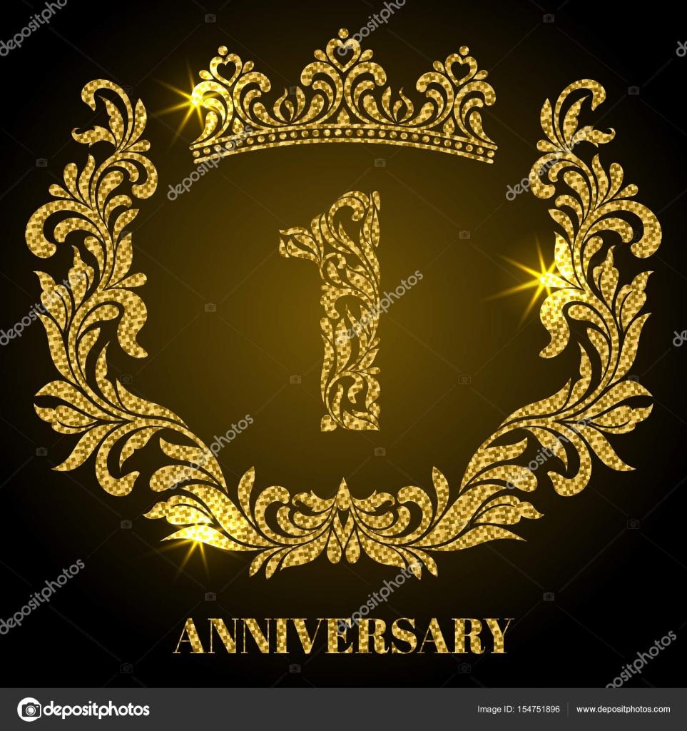 Aniversario de 1 año. Dígitos, marco y corona en remolinos y ...