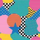 Fotografie nahtloses Muster im Memphis-Stil. abstrakte Vektorhintergründe mit geometrischen Ornamenten im Stil von 80-90.