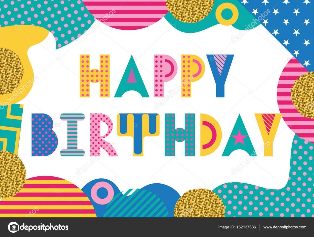 Stylish greeting card happy birthday trendy geometric font in stylish greeting card happy birthday trendy geometric font in memphis style of 80s kristyandbryce Choice Image