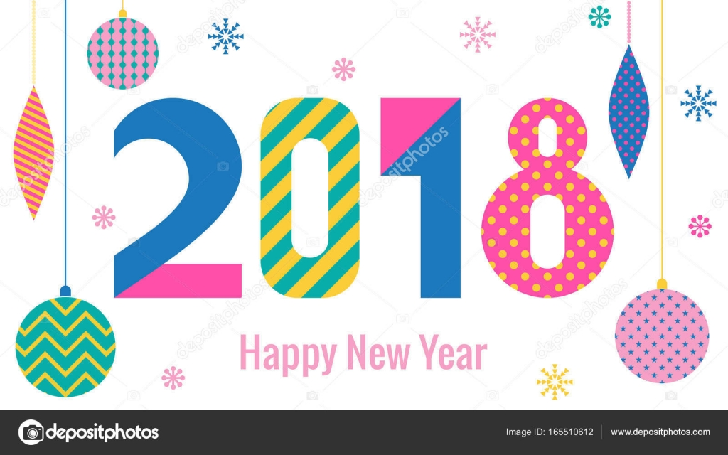 Stylish Greeting Card Happy New Year 2018 Trendy Geometric Font In