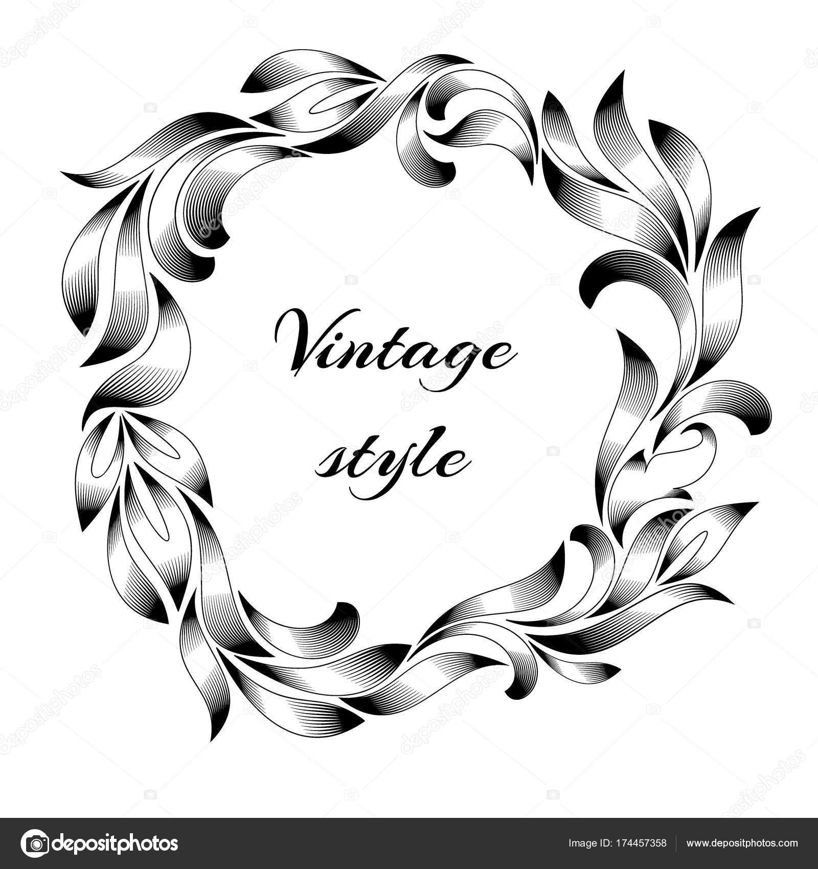 Vintage Rahmen Gravur mit Retro-Ornament-Muster im Antikstil floral ...