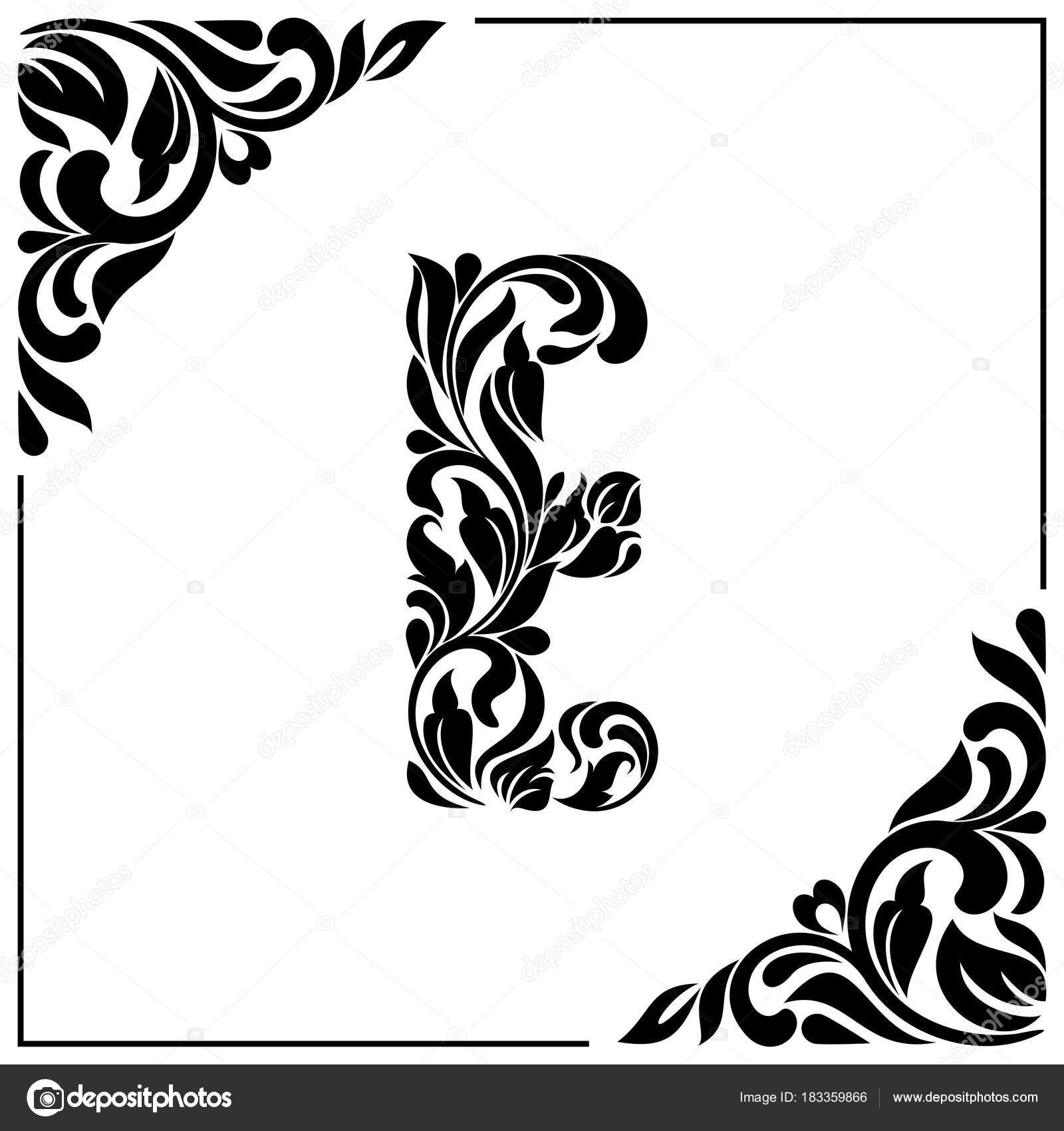 The Letter E Decorative Font With Swirls And Floral Elements Vintage Style Stock