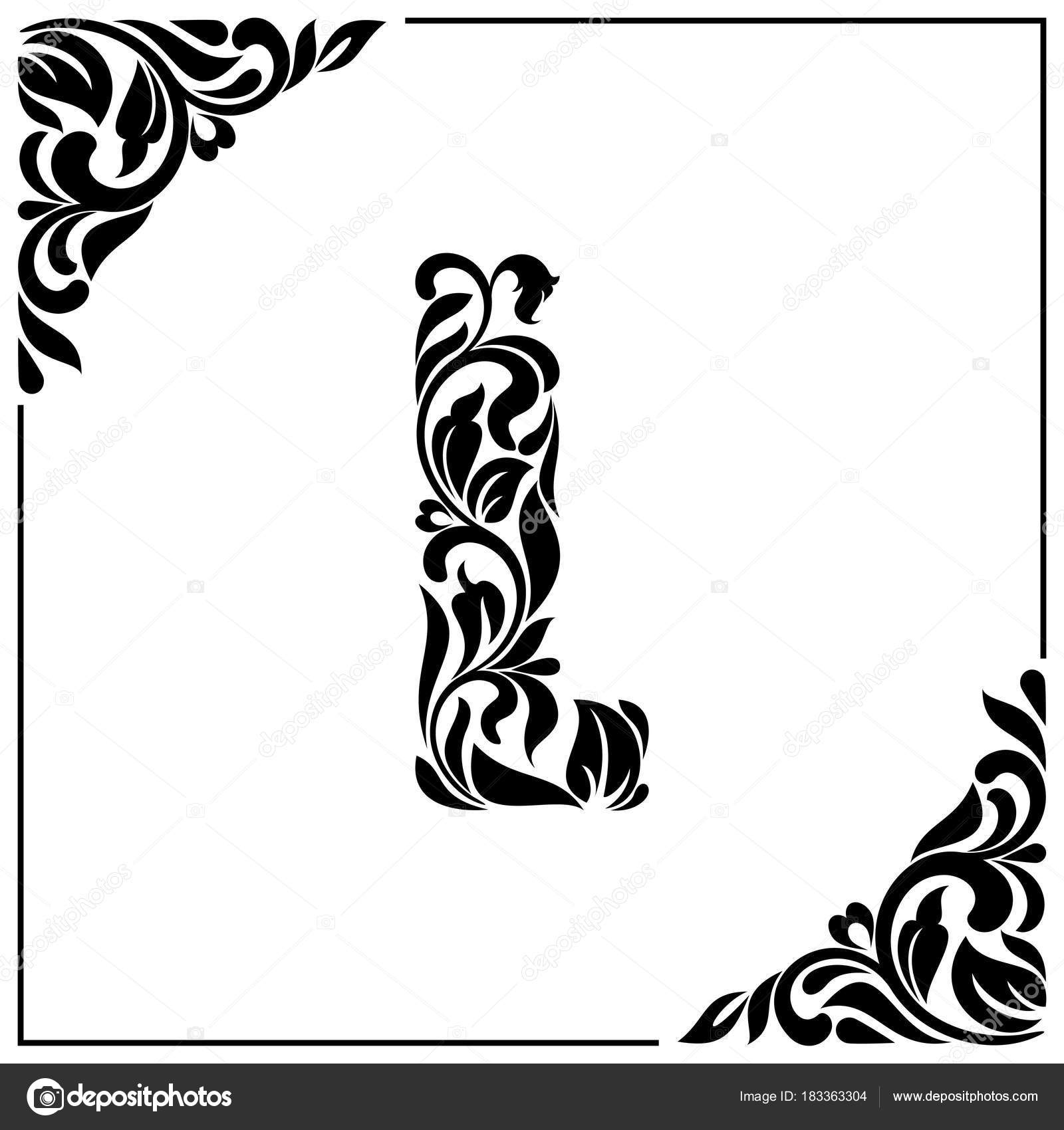 The Letter L Decorative Font With Swirls And Floral Elements Vintage Style Stock