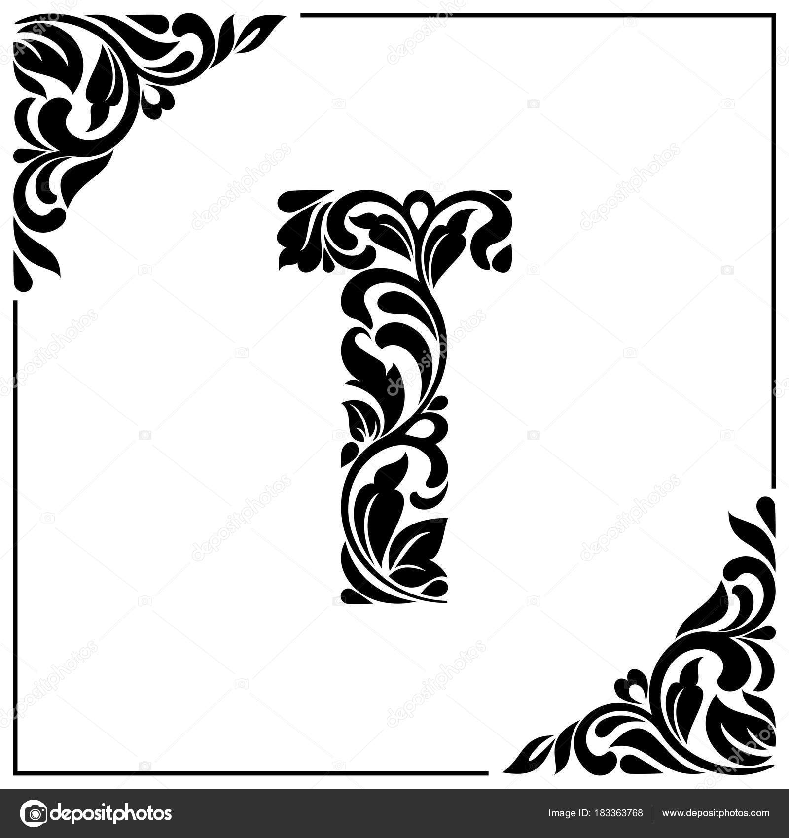 The Letter T Decorative Font With Swirls And Floral Elements Vintage Style Stock