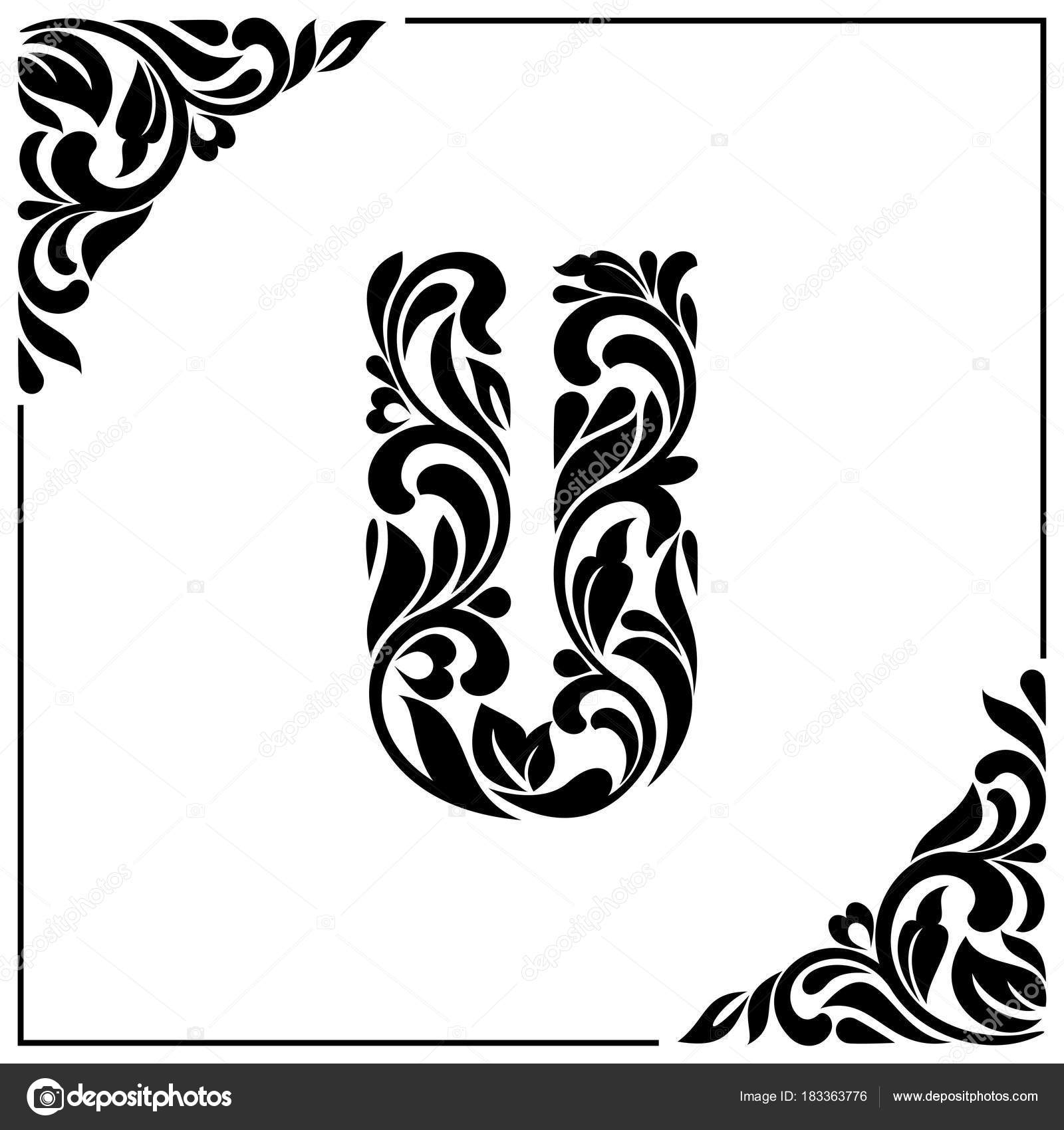The Letter U Decorative Font With Swirls And Floral Elements Vintage Style Stock