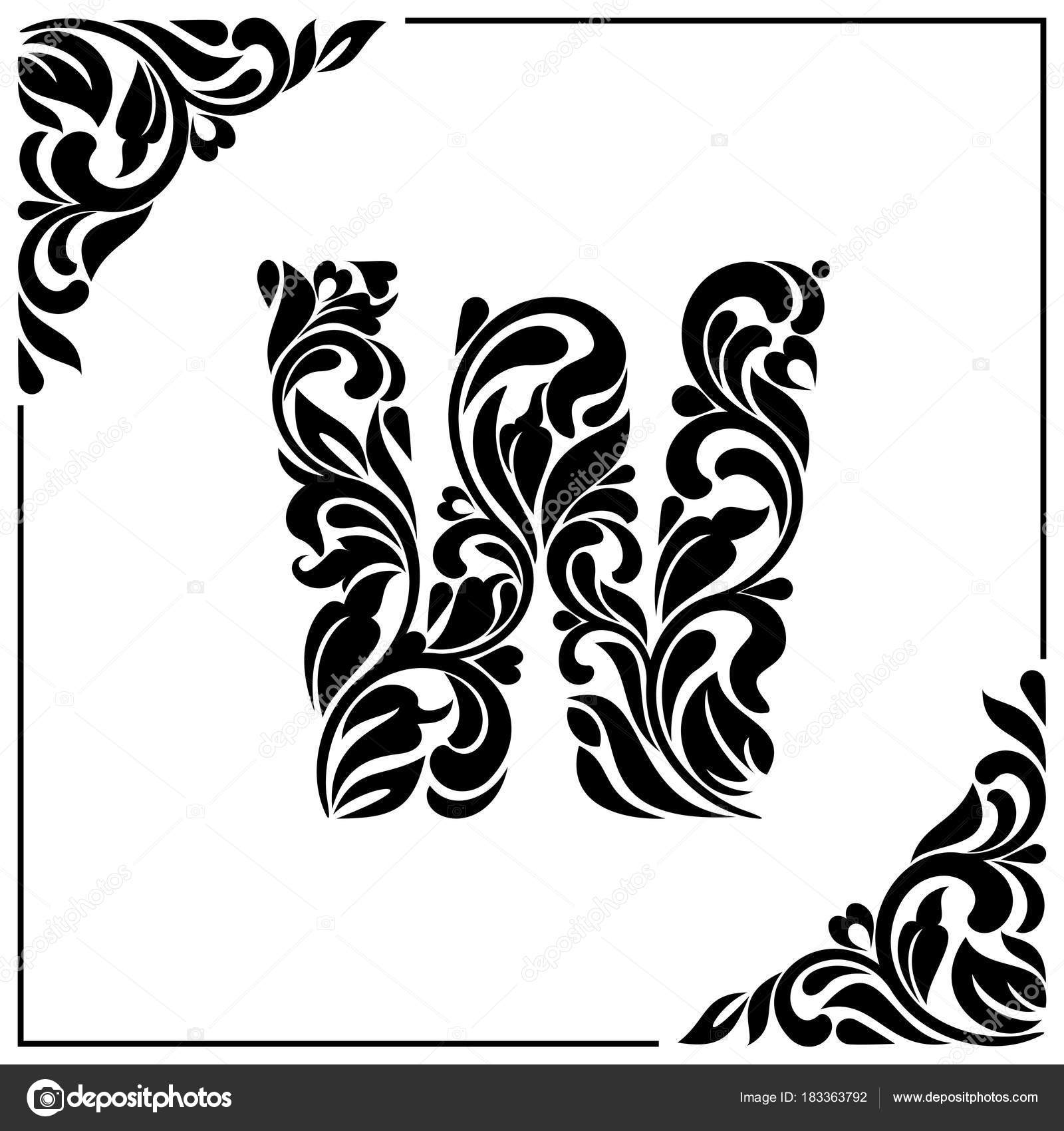 The Letter W Decorative Font With Swirls And Floral Elements Vintage Style Stock