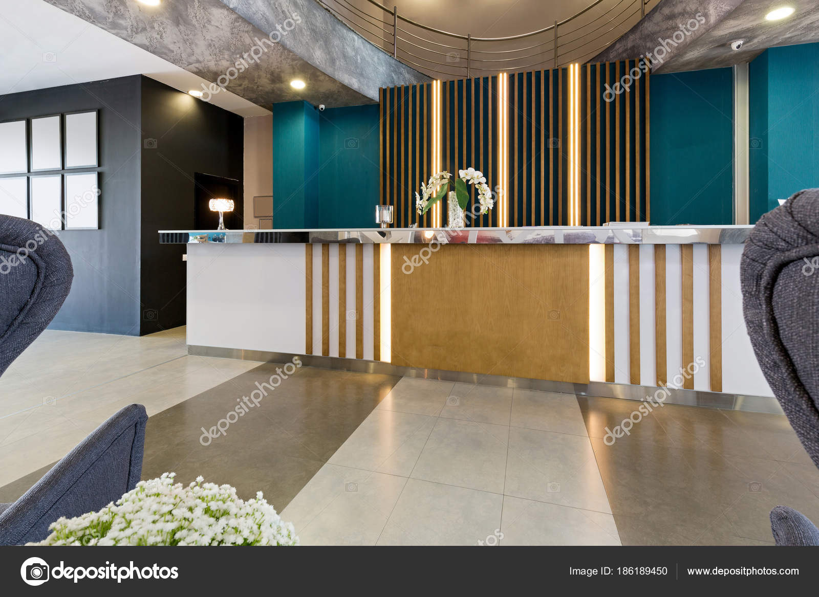 Hotel Reception Area Interior With Desk Stock Photo