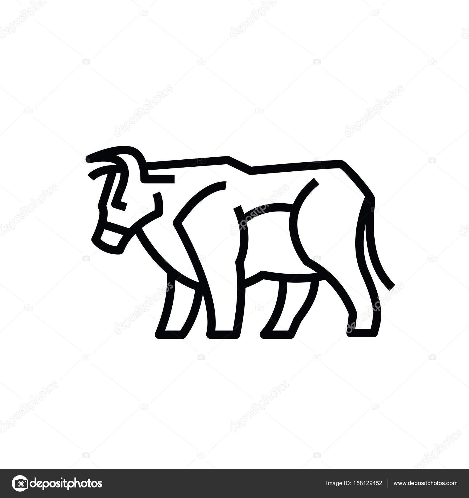Linear Stylisés Dessin De Bœuf De Taureau Ou De Vache Image