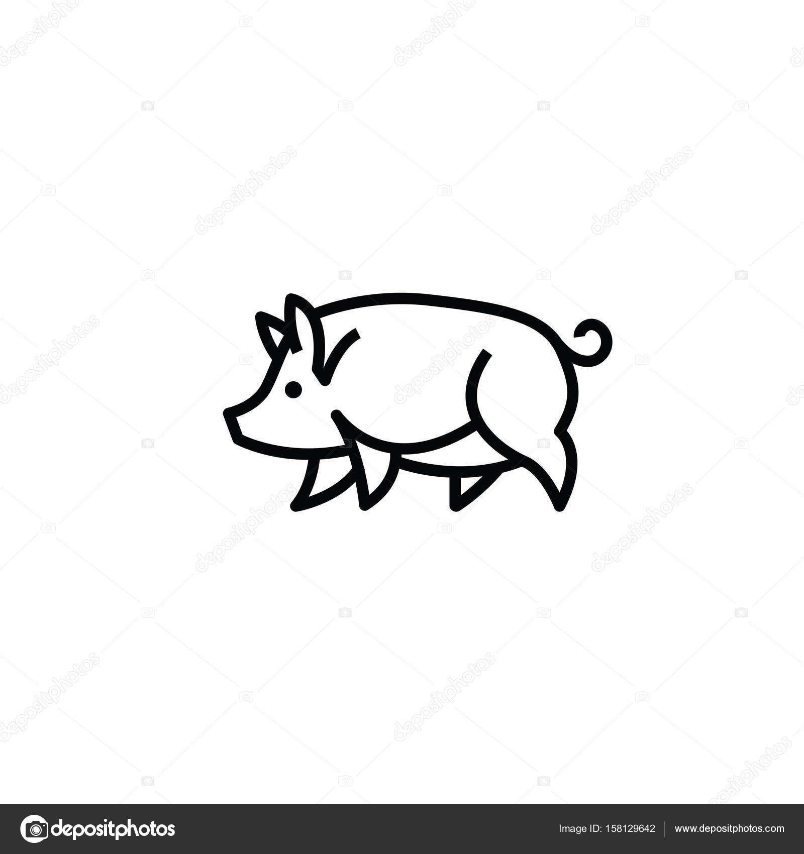 linear estilizado desenho de porco porco vetor de stock