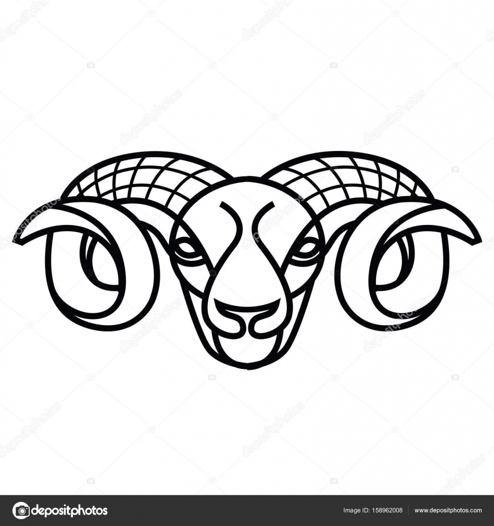 Linear stylized drawing - head of sheep or ram — Stock Vector ...