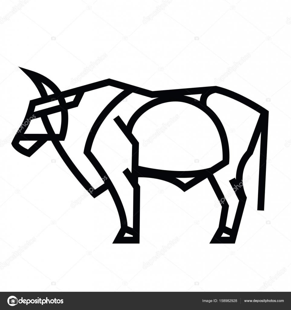 Toro in piedi cornuto potente — vettoriali stock
