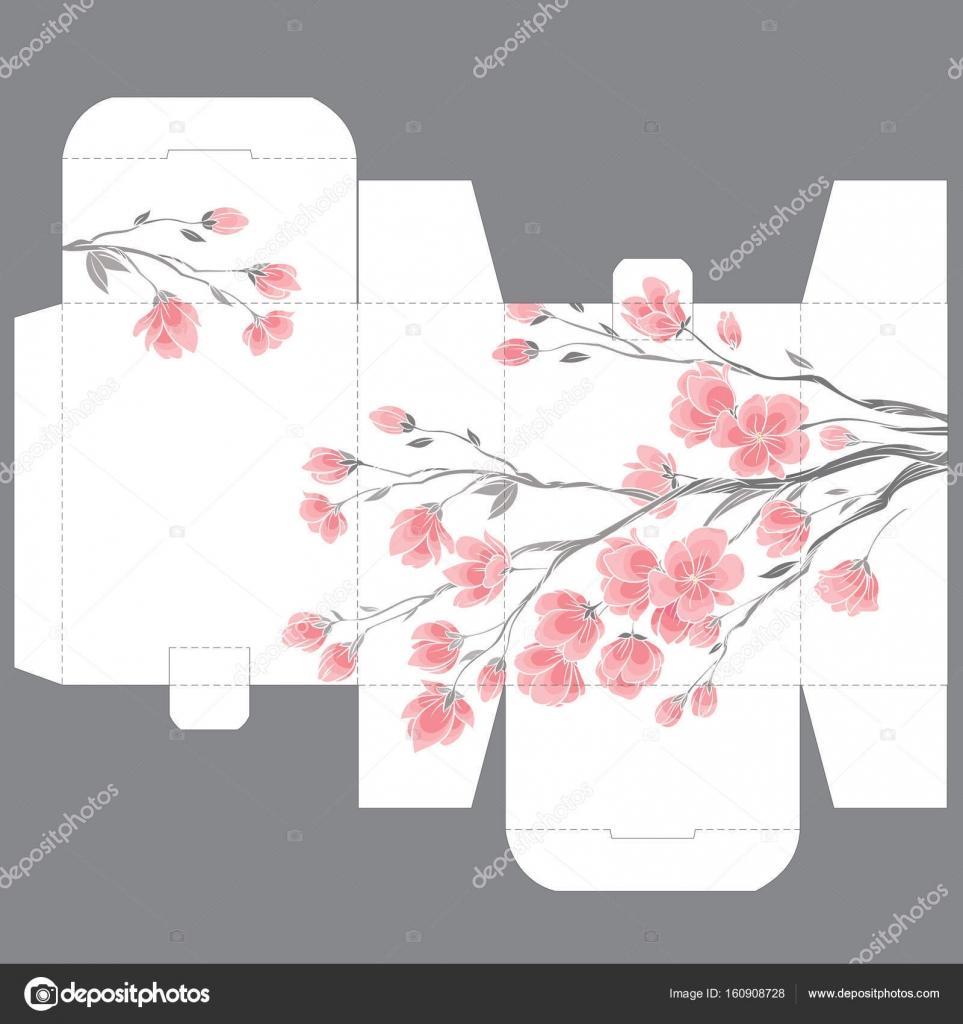 Gift wedding favor die box design template with sakura pattern ...