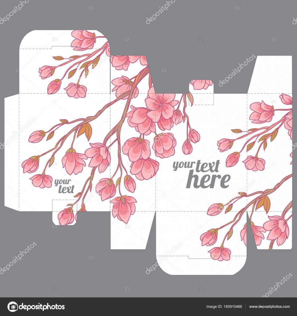 Geschenk Hochzeit Gunst Sterben Box Design Vorlage Mit Sakura Muster