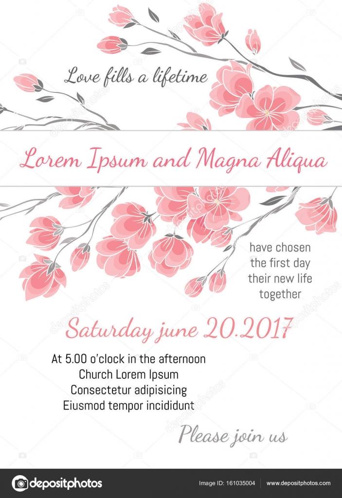 Hochzeit Einladungskarte Mit Cherry Sakura Blumen Vektor Vorlage