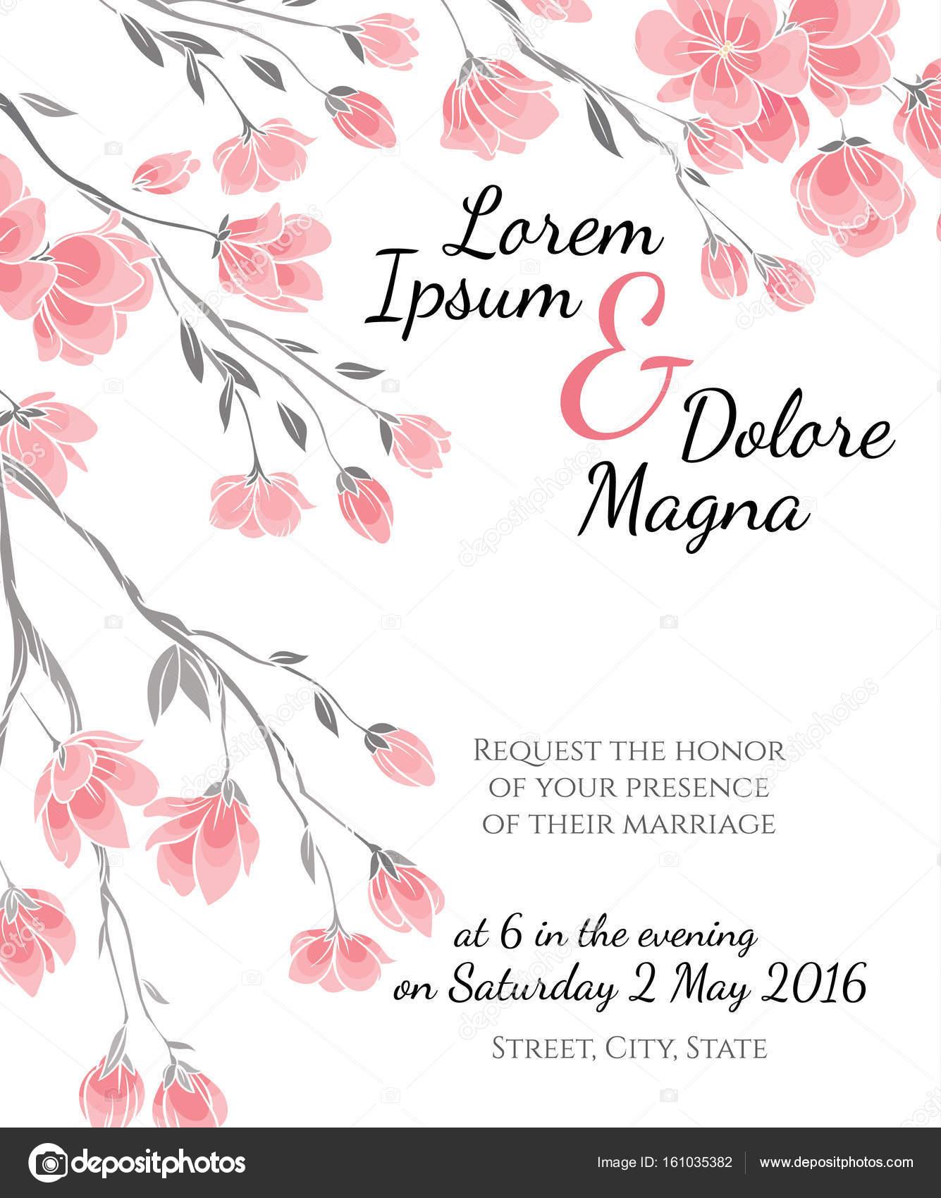 Hochzeit Einladungskarte Mit Cherry Sakura Blumen Vektor