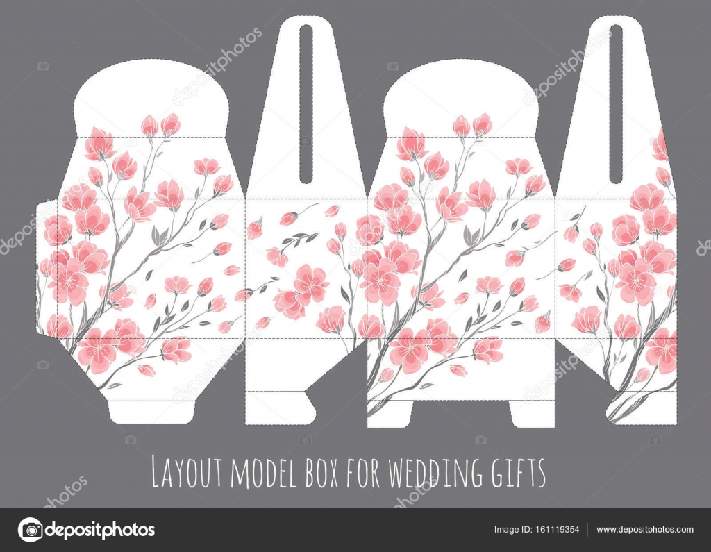 Gift wedding favor box template with nature pattern — Stock Vector ...