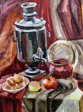 still life watercolor painting the samovar