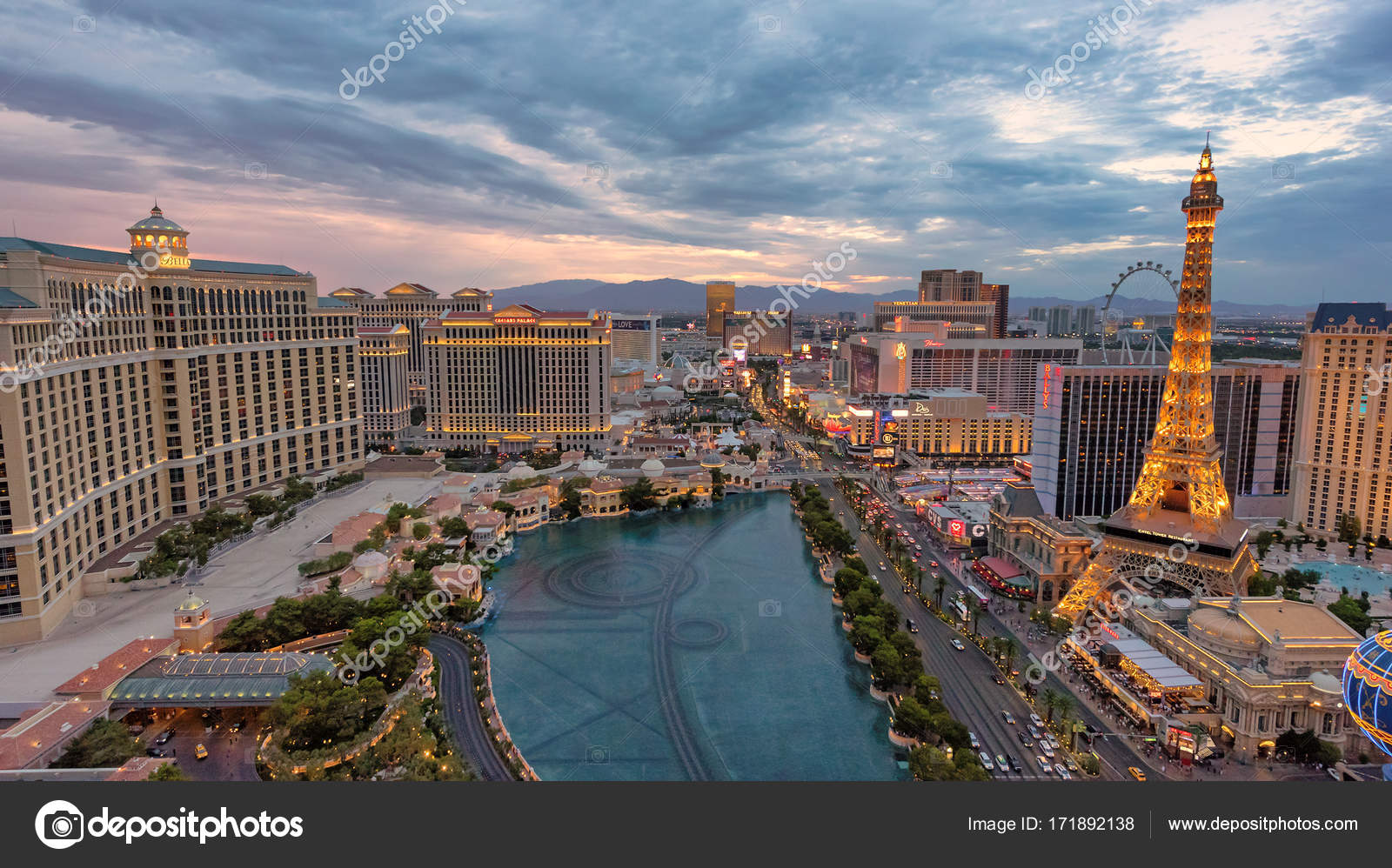 Vista Aérea Del Strip Las: Vista Aérea Da Strip De Las Vegas Ao Pôr Do Sol