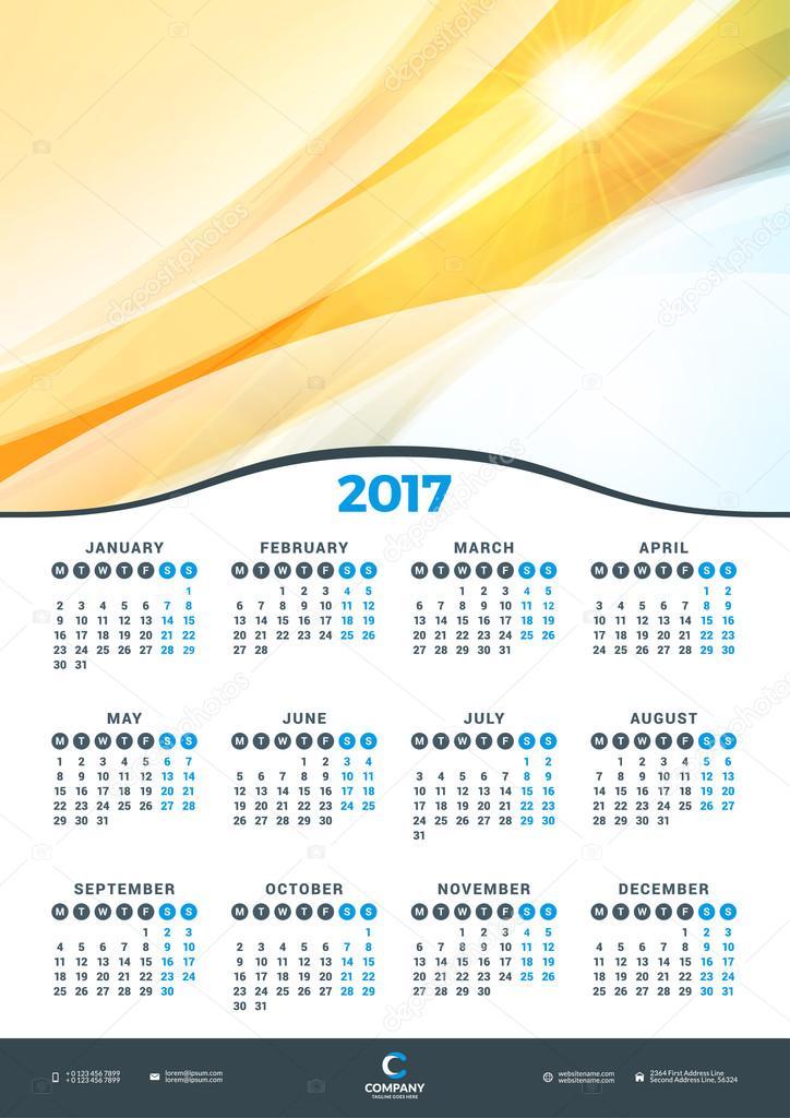 Wall Calendar Design Vector