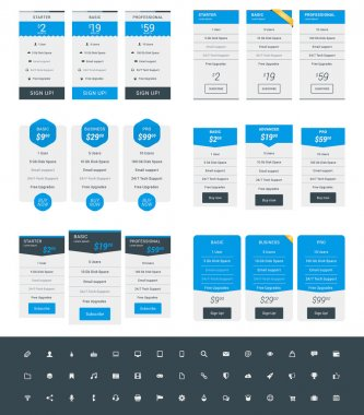 Set of Pricing Table Design Templates for Websites and Applications. Vector Pricing Plans with Icon Set. Blue and Black Colors. Flat Style Vector Illustration