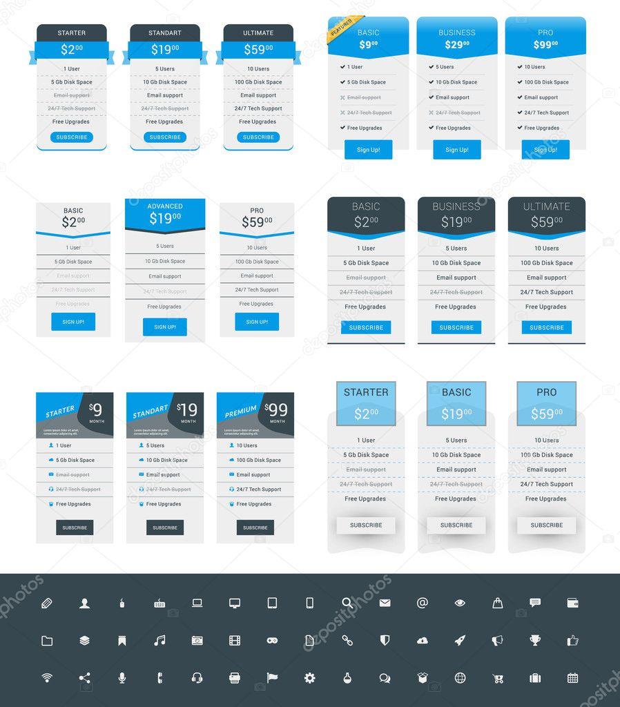 Satz von Preisbildung Tisch-Design-Vorlagen für Websites und ...