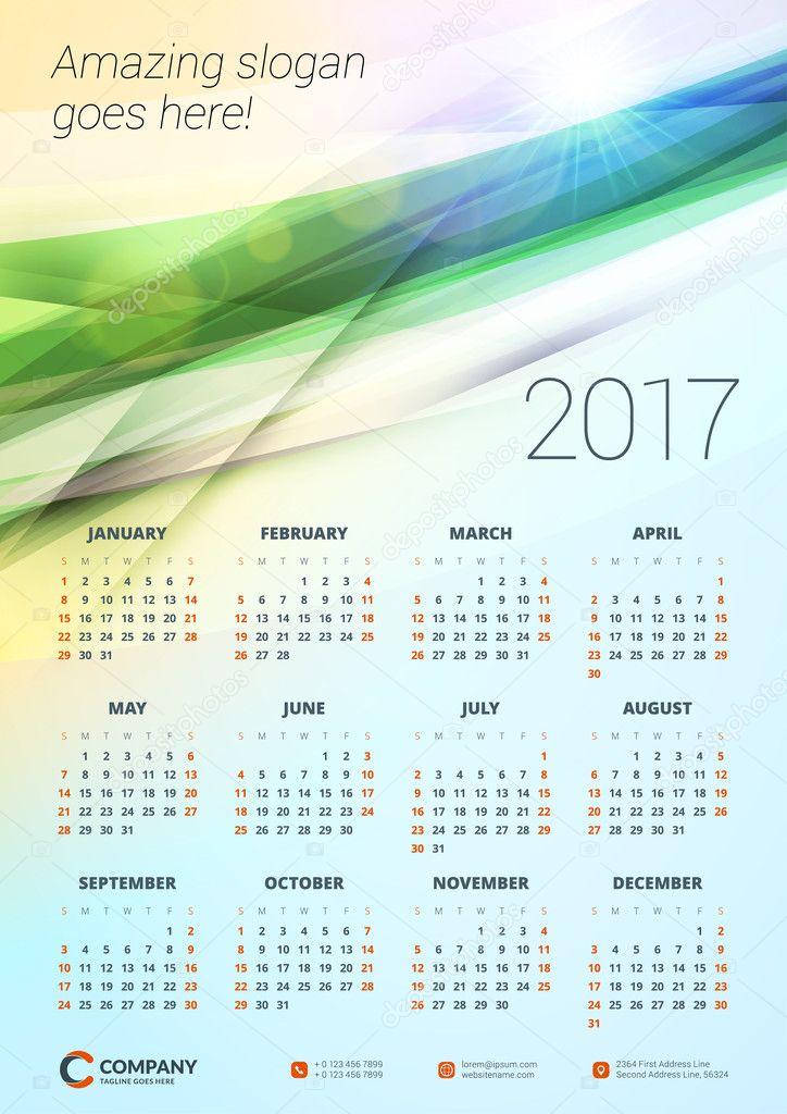 Wall Calendar Poster For 2017 Year Vector Design Print Template