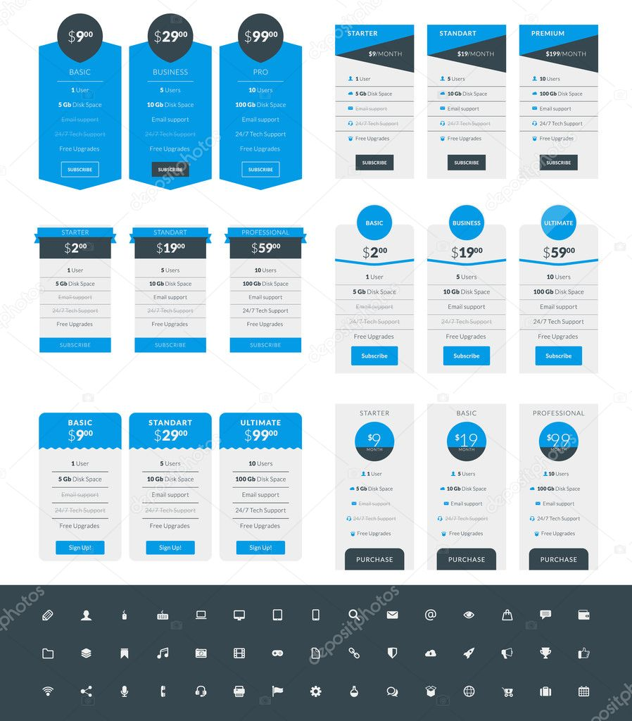 Stock And Style Colors Pricing Set Websites Plans Blue Illustration Black 125998218 Design Set Applications © Icon With Table Antartstock Of — For Templates Vector Flat