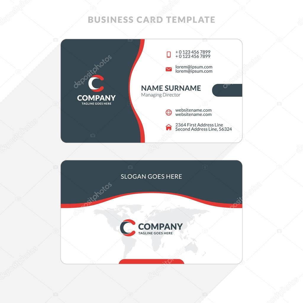 Creative and clean double sided business card template red and creative and clean double sided business card template red and black colors flat wajeb Images