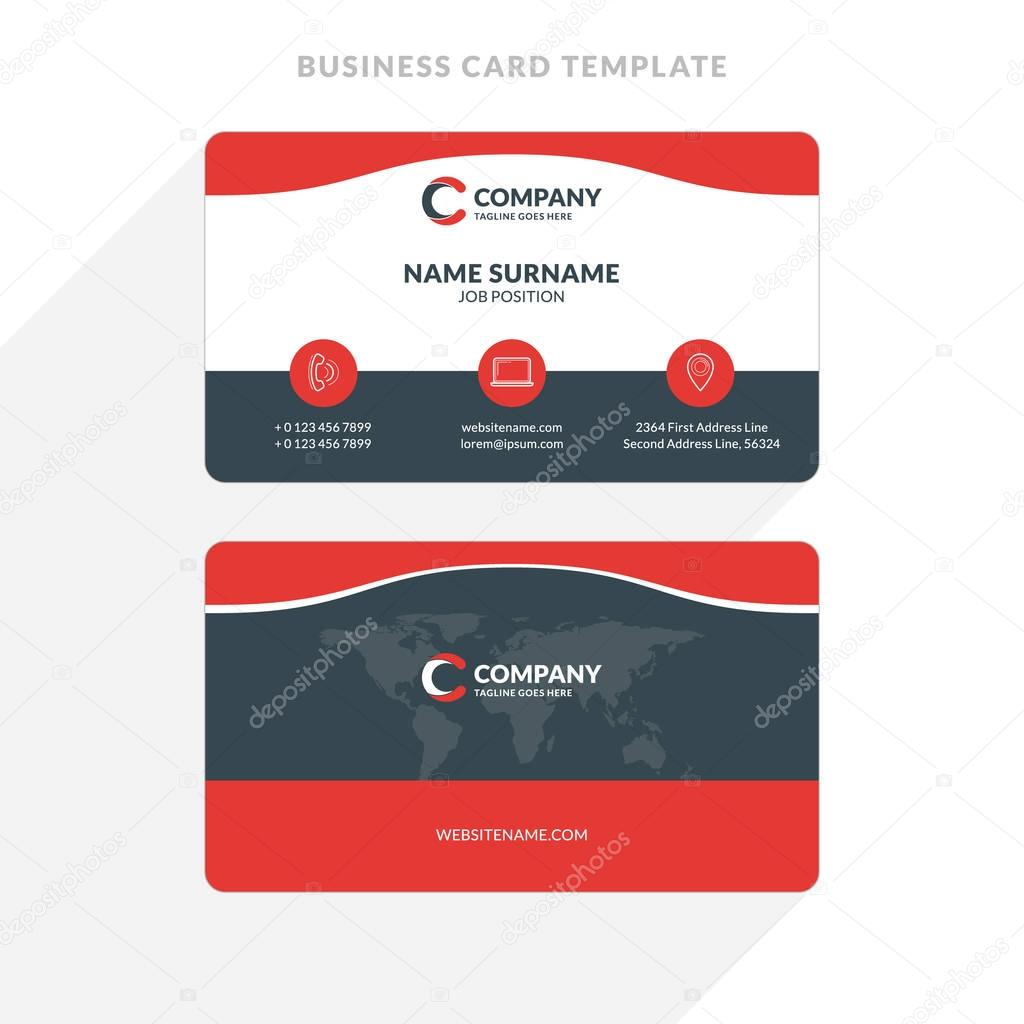 Creative and clean double sided business card template red and creative and clean double sided business card template red and black colors flat friedricerecipe Choice Image